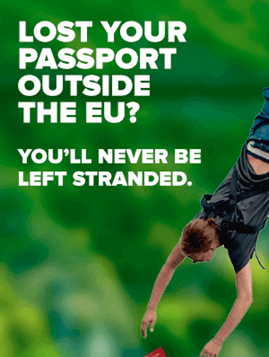 Person hanging upside down from bungee rope with passport falling out of pocket.